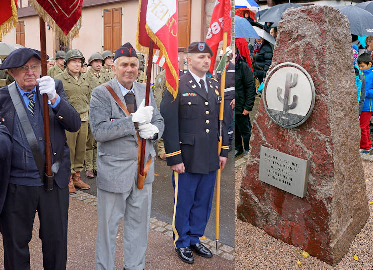 November 11, 2017 - U.S. Army Capt. Andrew Pollick, of the 7th Mission Support Command, seen here with local supporters, acted as escort and guide-on bearer in Scherwiller, France in commemoration of the town's liberation from the Nazis on December 1, 1944 by the 103rd Infantry Division and the dedication of the 103rd ID memorial that is adjacent to Scherwiller's town square. (Image created by USA Patriotism! from U.S. Army photos by Sgt. 1st Class John Freese)
