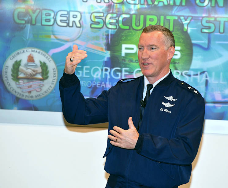 December 5, 2017 - U.S. Air Force Major General Ed Wilson, deputy principal cyber advisor to the Secretary of Defense, talks about the importance of sharing best practices on the international front for cybersecurity to 98 participants from 51 countries during the Program on Cyber Security Studies at the George C. Marshall European Center for Security Studies. (Marshall Center for Security Studies photo by Karl-Heinz Wedhorn)