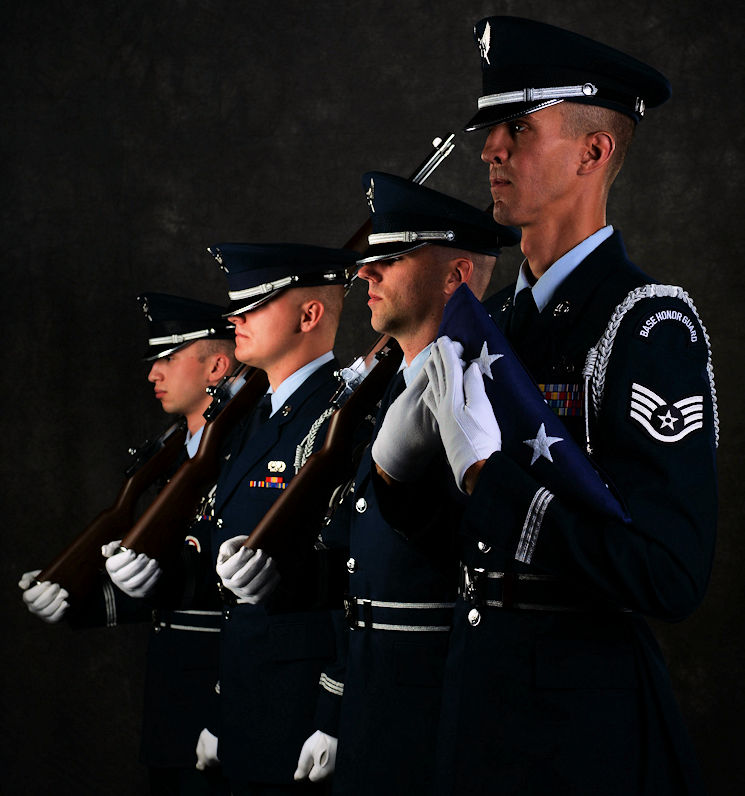 June 26, 2017 - Staff Sgt. Michael J. Solo, 5th Force Support Squadron NCOIC of the base honor guard, poses with his honor guardsmen at Minot Air Force Base in North Dakota. The honor guard attends many ceremonies, to include colors team sequences with both flags and rifles, funeral sequences, pallbearing, firing party, flag folding, sword cordons and other ceremonies. (U.S. Air Force photo by Airman 1st Class Dillon Audit)