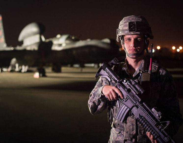 February 8, 2017 - A member of the 380th Expeditionary Security Forces Squadron guards a U-2 Dragonlady at an undisclosed location in Southwest Asia. Security forces members directly contribute to the area of responsibility by defending critical mission assets which are working to weaken and destroy Islamic State in Iraq and the Levant operations in the Middle East region and around the world. (U.S. Air Force photo by Senior Airman Tyler Woodward)
