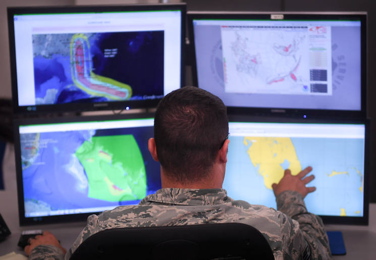 September 7, 2017 - A 26th Operations Weather Squadron forecaster tracks Hurricane Irma at Barksdale Air Force Base, LA. Even though they are stationed on Barksdale, the 26th OWS keeps track of the weather for 13 states and 151 military sites in the Southeast region of the U.S. (U.S. Air Force photo by Airman 1st Class Stuart Bright)
