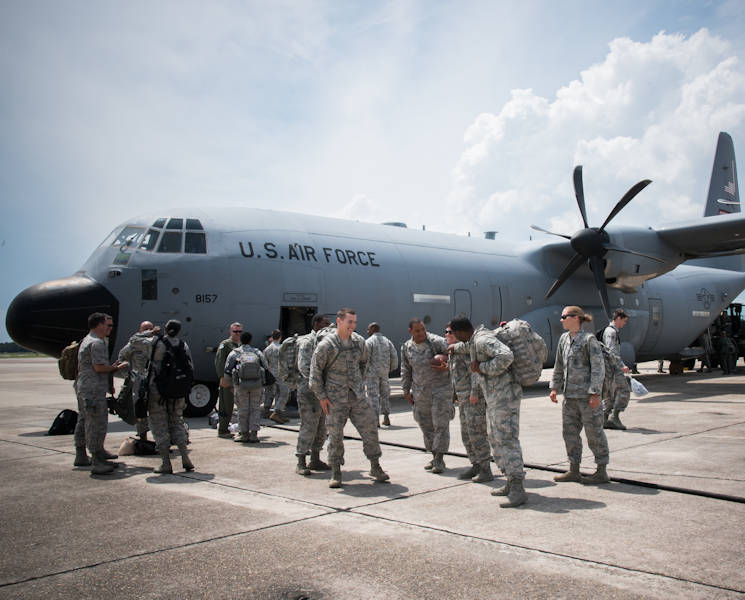 August 23, 2017 - Members of the 403rd Wing exit an 815th Airlift Squadron C-130J Super Hercules aircraft upon their return from exercise Patriot Warrior at Keesler Air Force Base, Mississippi. (U.S. Air Force photo by Staff Sgt. Heather Heiney)