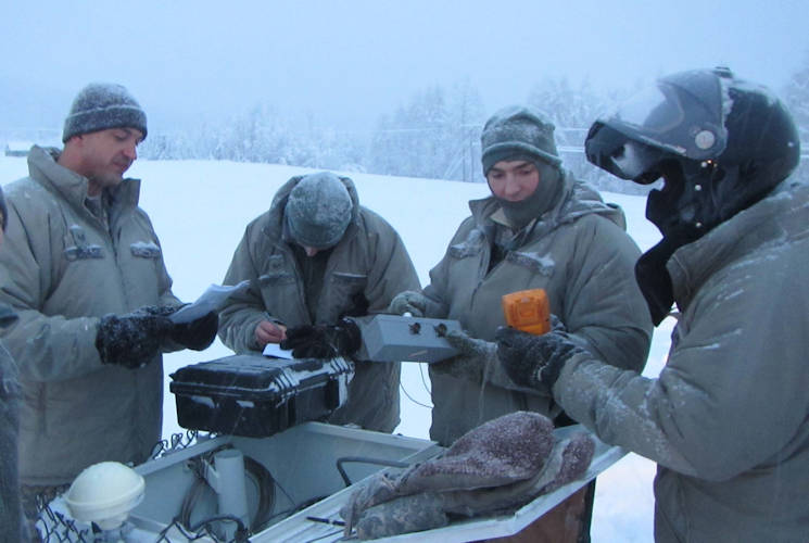 January 23, 2015 - Airmen stationed at Detachment 460, Eielson AFB, Alaska, conduct maintenance at one of their seismic arrays in support of the Air Force Technical Applications Center's nuclear treaty monitoring mission. (U.S. Air Force courtesy photo)