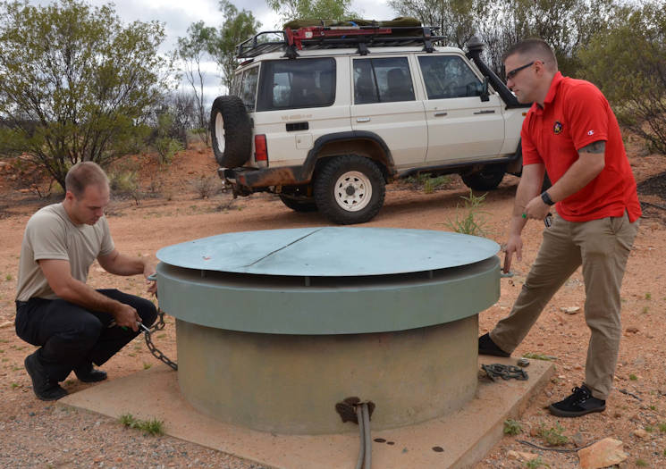 December 18, 2015 - Airmen stationed at Detachment 421, Alice Springs, Australia, conduct maintenance at one of their seismic arrays in support of the Air Force Technical Applications Center's nuclear treaty monitoring mission.(U.S. Air Force photo by Susan A. Romano, AFTAC)