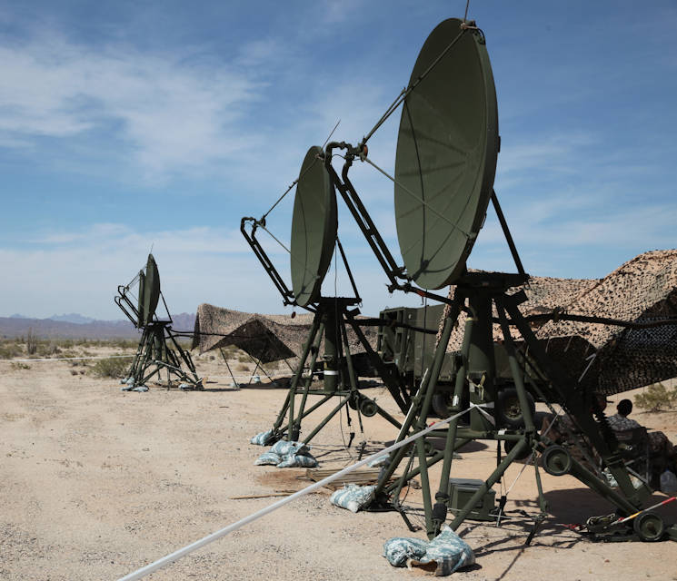 April 26, 2017 - The Tropospheric Scatter Microwave Radio Terminal, or the AN/TRC-170, is being operated during the Weapons and Tactics Instructor Course 2-17 near Marine Corps Air Station Yuma, Arizona. The AN/TRC-170 is used to transfer data, internet, phone, and emails within 100 nautical miles to a point target on the receiving end. This version of the AN/TRC-170 has been commissioned in the Marines Corps since the 1980's. (U.S. Marine Corps photo by Lance Cpl. Cody Lemons)