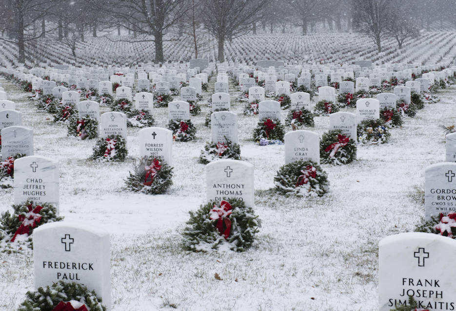 January 7, 2017 - The first significant snowfall of the season blankets headstones and wreaths in Section 60 of Arlington National Cemetery, Virginia. (U.S. Army photo by Rachel Larue, Staff Photographer-the Pentagram)