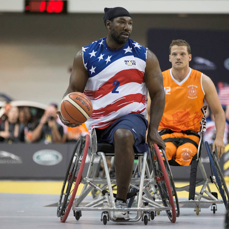 September 30, 2017 - U.S. Army veteran Anthony Edward Pone attends the Wheelchair Basketball event during the Invictus Games at the Ryersons Mattamy Athletic Centre, Toronto, Canada. Invictus Games, September 23-30, is an international Paralympic-style, multi-sport event, created by Prince Harry of Wales, in which wounded, injured or sick armed services personnel and their associated veterans take part in sports including wheelchair basketball, wheelchair rugby, sitting vollyball, archery, cycling, wheelchair tennis, powerlifting, golf, swimming, and indoor rowing. (U.S. Army photo by Pfc. Seara Marcsis)
