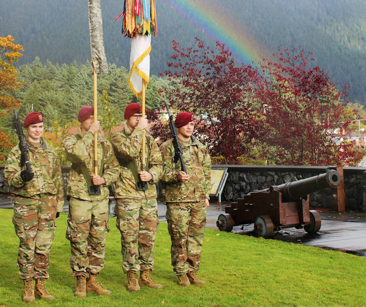 October 17, 2017 - A color guard of U.S. Army Alaska Paratroopers with 725th Brigade Support Battalion (Airborne), 4th Infantry Brigade Combat Team (Airborne), 25th Infantry Division rehearse for a memorial ceremony at the Sitka National Cemetery in Sitka, Alaska. The ceremony is part of the 2017 Alaska Day Festival which marked the 150th anniversary of the transfer of Russian America from the Russian Empire to the United States. 725th BSB also provided a firing squad for the ceremony while Arctic Support Command's 9th Army Band, 17th Combat Sustainment Support Battalion provided a drummer and bugler. (U.S. Army photo by Capt. Richard Packer)
