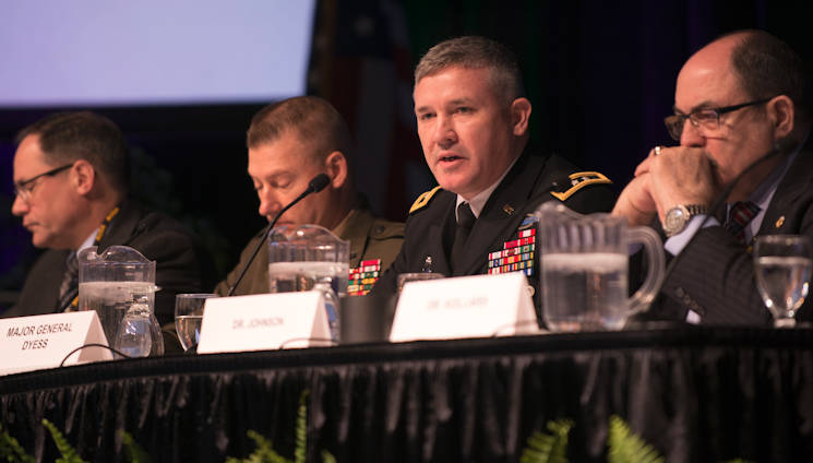 Maj. Gen. Bo Dyess, acting director of the Army Capabilities Integration Center, talks about the multi-domain battle concept during a panel discussion at the Association of the United States Army's global force symposium in Huntsville, Alabama on March 13, 2017. (U.S. Army photo by Sean Kimmons)