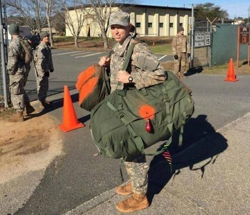 Capt. Natalie Mallue enters the gates at Camp Rogers, Fort Benning, Ga., on day zero of Ranger School, January 29, 2017. Mallue became the sixth female to graduate Ranger School in April 2017 and the first female to hold both Ranger and Sapper tabs. (Courtesy Photo)