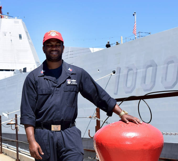 June 23, 2016 - Petty Officer 1st Class Brian Nichols is a boatswain's mate aboard the pre-commissioning guided missile destroyer, USS Zumwalt (DDG 1000), the Navy's first stealth destroyer. Nichols is being a part of the very challenging deck department on the ship is . (U.S. Navy photo by U.S. Navy Mass Communication Specialist 1st Class Heidi McCormick)