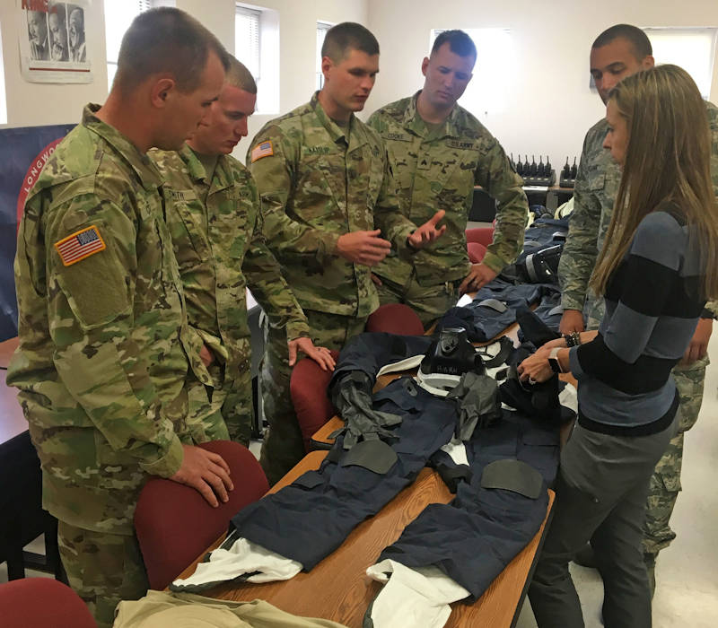 April 2017 - Members of the Virginia Army National Guard's 34th Civil Support Team provide feedback on the development of a new fully encapsulated hazmat suit about the protective clothing  to members of the Tactical All-Hazards Ensemble program team. (Photo courtesy of DTRA Chemical and Biological Technologies Department)