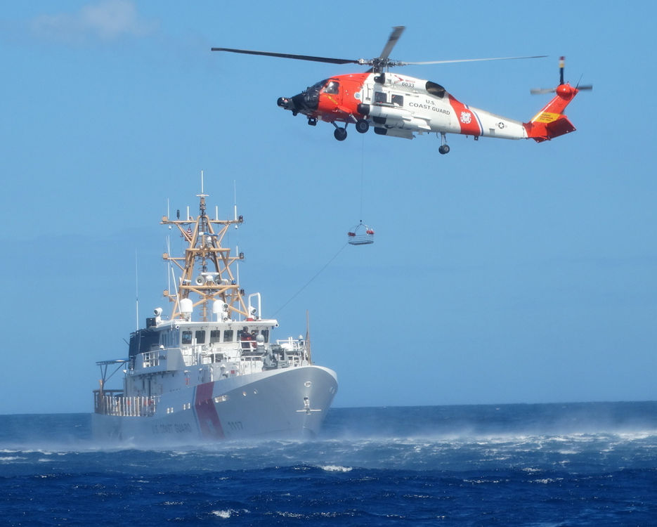 February 8, 2017 - Coast Guard Fast Response Cutter Donald Horsley from Sector San Juan conducts helicopter hoist training off Puerto Rico with the crew of an MH-60 Jayhawk helicopter from Air Station Cape Cod, MA. Coast Guard crews continuously train throughout the year to sharpen their skills and maintain proficiency when responding to distress calls and conducting rescue operations. (U.S. Coast Guard courtesy photo)