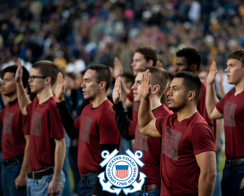 December 23, 2016 - New Coast Guard recruits take the oath of military enlistment during the halftime event at the Armed Forces Bowl in Fort Worth, Texas. The Navy Midshipmen played the Louisiana Tech Bulldogs in the Lockheed Martin Armed Forces Bowl at the Amon G. Carter Stadium. (Image created by USA Patriotism! from U.S. Coast Guard photo by Petty Officer 3rd Class Dustin R. Williams)