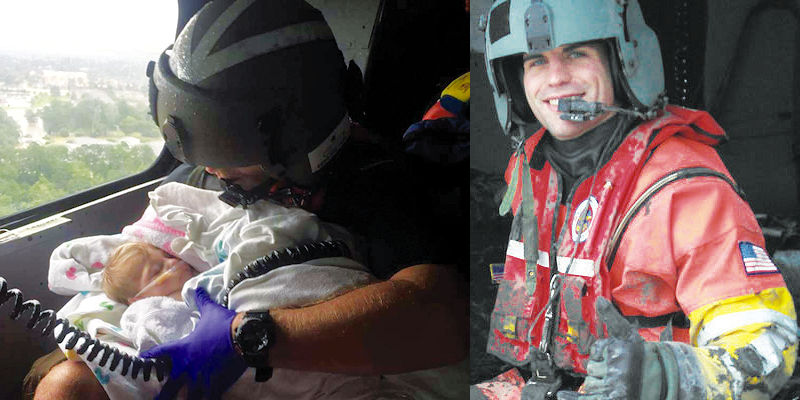 U.S. Coast Guard AST2 Troy Ramsdell holding the female infant during a transport flight in Houston, Texas during August 2017 that caught the eye of President Donald Trump and resulted in meeting President Trump. The image on the right shows Troy Ramsdell on another assignment during 2017. (Image created by USA Patriotism! from photos provided by U.S. Coast Guard AST2 Troy Ramsdell)