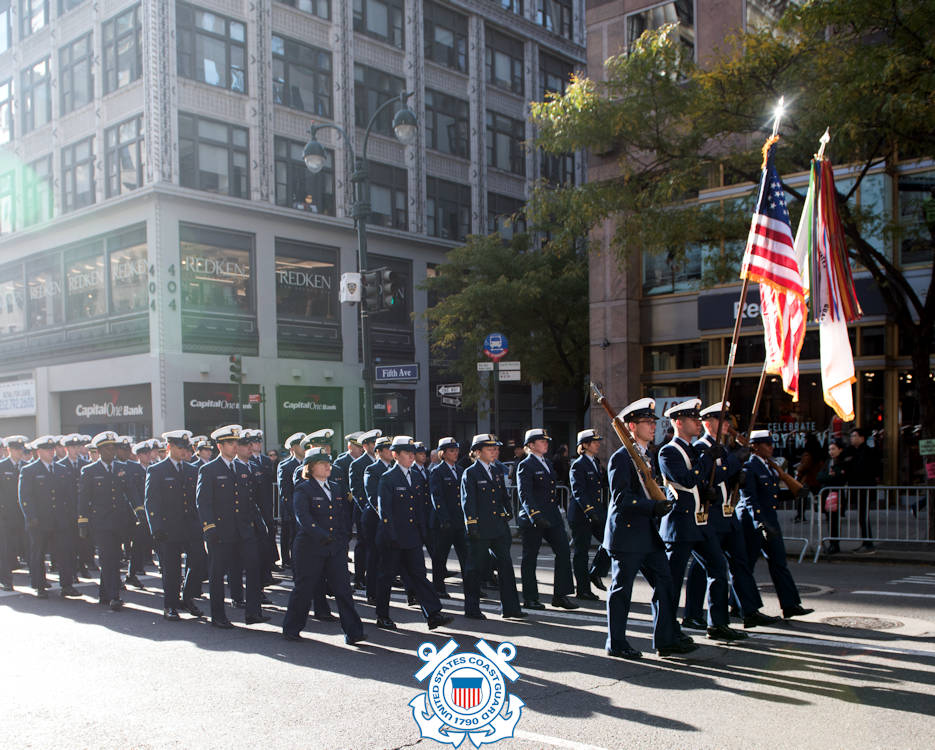 November 11, 2017 - Coast Guard Sector New York members represent the unit while marching in the New York City Veterans Day Parade. With more than 40,000 participants, the New York City Veterans Day Parade is the largest Veterans Day event in the USA. (Image created by USA Patriotism! from U.S. Coast Guard photo by Petty Officer 2nd Class Dustin R. Williams)