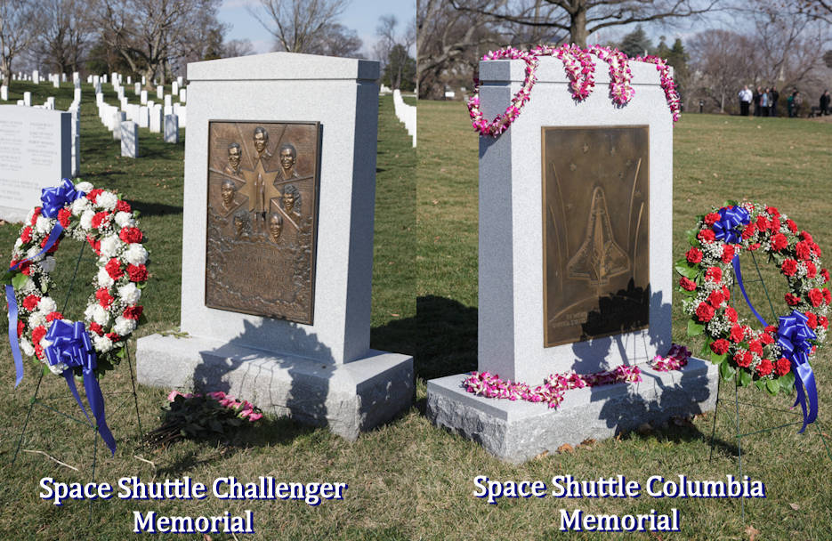The Space Shuttle Challenger and Space Shuttle Columbia memorials after a wreath laying ceremony that was part of NASA's Day of Remembrance on January 31, 2017 at Arlington National Cemetery in Arlington, VA. The wreaths were laid in memory of those men and women who lost their lives in the quest for space exploration. (Image created by USA Patriotism! from NASA photos by Joel Kowsky)