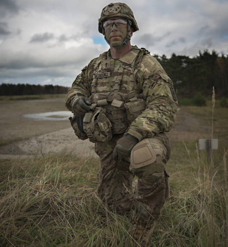 U.S. Army Chaplain Cpt. John McDougall, chaplain for 2nd Battalion, 503rd Infantry Regiment (Airborne), 173rd Airborne Brigade, observes training during exercise Eagle Strike on October 23, 2017. The 173rd Airborne Brigade is the U.S. Army's Contingency Response Force in Europe, providing rapidly deploying forces to the U.S. Army Europe, Africa and Central Command Areas of Responsibility within 18 hours. (U.S. Army photo by Staff Sgt. Alexander C. Henninger)