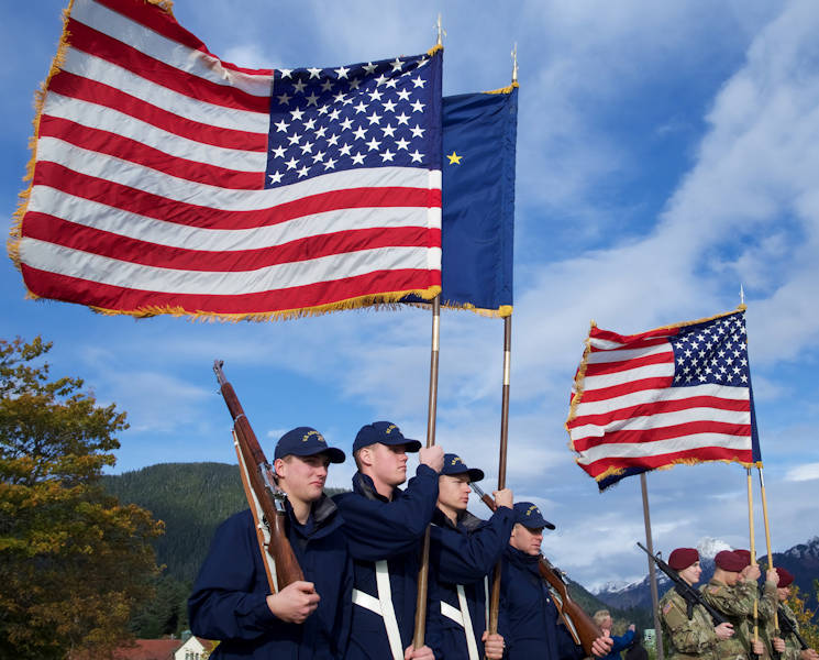 October 18, 2017 - The 17th Coast Guard District and U.S. Army Alaska color guards participate in the reenactment of the transfer of Alaska from Russia to the United States at Castle Hill, Sitka, Alaska. Revenue Cutter Lincoln of the United States Revenue Cutter Service, the predecessor of the U.S. Coast Guard, delivered the first U.S. officials for the Oct. 18, 1867, transfer ceremony. (U.S. Army National Guard photo by Sgt. David Bedard)