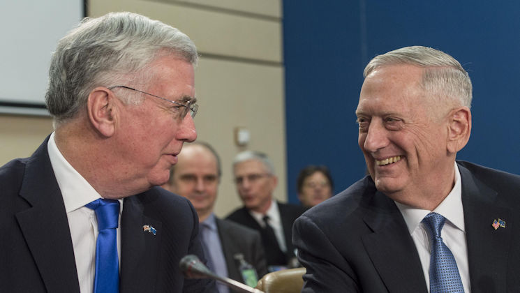February 15, 2017 - Defense Secretary Jim Mattis (right) talks with Britain's Defense Secretary Michael Fallon during a North Atlantic Council meeting at NATO headquarters in Brussels. (DoD photo by U.S. Air Force Tech. Sgt. Brigitte N. Brantley)