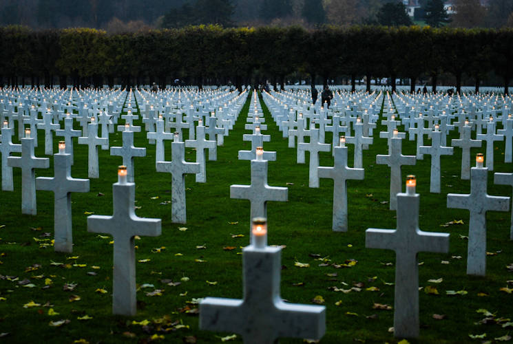 November 11, 2017 - A candle is lit, at the Meuse-Argonne American Cemetery and Memorial near the Argonne Forest in France, which is Remembrance Day in France. Volunteers worked with quiet reverence for fallen service members from the Meuse-Argonne Offensive in World War I. Overall, 26,000 Americans died in what turned out to be the longest-lasting battle of World War I. (Defense Media Activity photo by U.S. Navy Chief Petty Officer Michael McNabb)