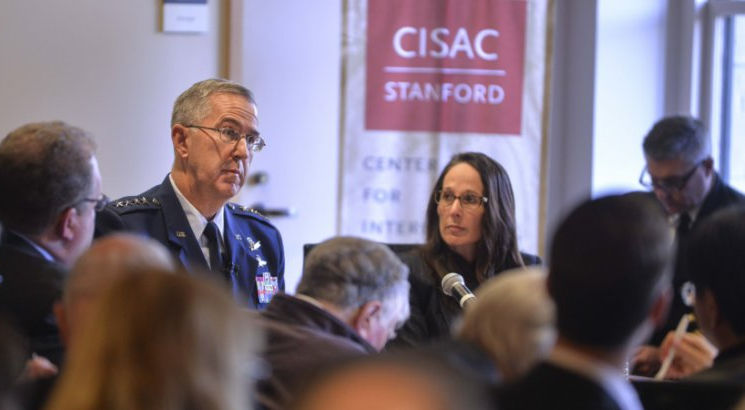 January 24, 2017 - Air Force Gen. John E. Hyten, commander of U.S. Strategic Command, speaks at Stanford University's Center for International Security and Cooperation in California. (Courtesy photo by Rod Searcey, Stanford University)