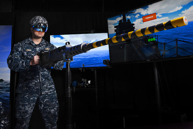December 14, 2016 - U.S. Navy Lt. Steven McGhan demonstrates GunnAR helmet developed at the Space and Naval Warfare Systems Center Pacific. (U.S. Navy photo by Alan Antczak, Space and Naval Warfare Systems Command)