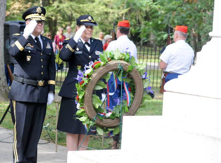 October 8, 2017 - Brigadier Gen. Stephen E. Strand, left, deputy chief of engineers (Reserve affairs), and Chap. (Maj.) Dawn Siebold, 88th Regional Support Command chaplain, salute the wreath they placed at the tomb of former President Rutherford B. Hayes during a ceremony honoring the 19th president of the United States in Fremont, Ohio. (U.S. Army photo by Zachary Mott)