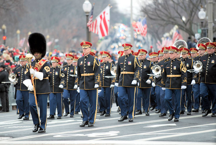 January 20, 2017 - The U.S. Army Band marches along Pennsylvania Avenue at the start of the inaugural parade in Washington, D.C. (U.S. Army photo by Sean Kimmons)