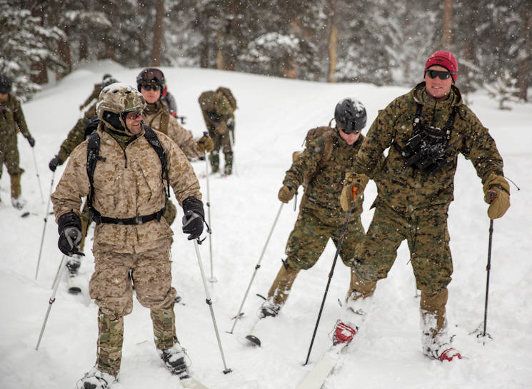 January 19, 2016 - A Mountain Warfare Instructor leads Marines with 2nd Battalion, 2nd Marine Regiment, in skiing drills during Mountain Training Exercise 1-17 in the Marine Corps Mountain Warfare Training Center Bridgeport, California training area. MCMWTC is one of the Marine Corps' most secluded posts, comprised of approximately 46,000 acres of terrain with elevations ranging from 5,000 to 11,000 feet. The exercise trains elements of the Marine air-ground task force across the warfighting functions for operations in mountainous, high-altitude and cold-weather environments in order to enhance a unit's ability to shoot, move, communicate, sustain and survive in the most rugged regions of the world. (U.S. Marine Corps photo by Cpl. Levi Schultz)