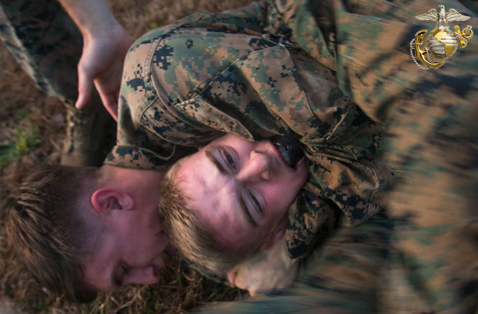January 23, 2017 - Marines with 2nd Battalion, 8th Marine Regiment, 2nd Marine Division engage in Marine Corps Martial Art Program ground fighting during an event known as advanced course preparation training at Marine Corps Base Camp Lejeune, NC. The event was a seven-mile course that served as an initial performance assessment and tested the Marines on basic knowledge and skills. It is a way for the Marines to know which skills to refine before they begin a military occupational specialty specific advanced course. (Image created by USA Patriotism! from U.S. Marine Corps photo by Lance Cpl. Damarko Bones)