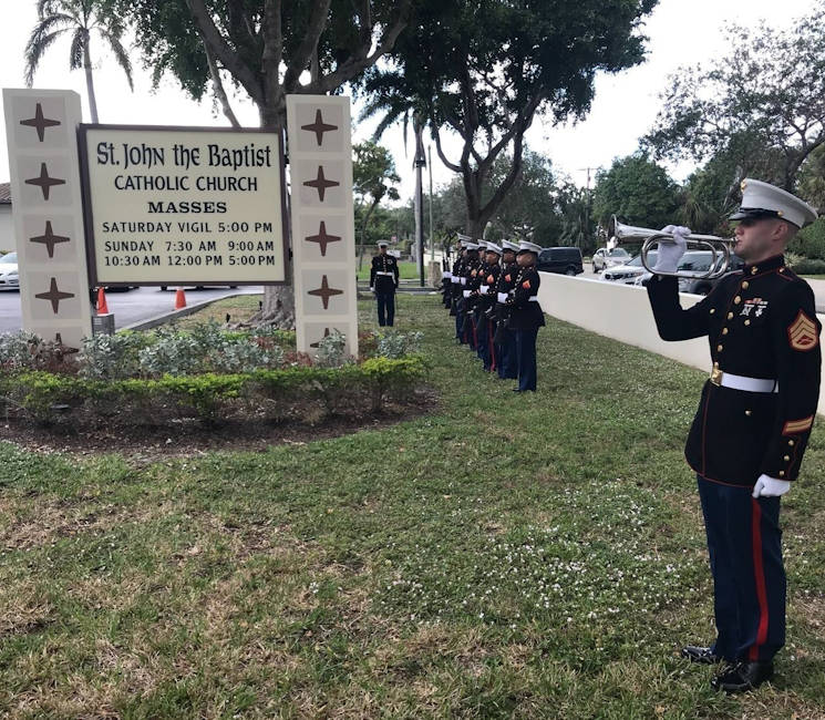 December 27, 2017 - Staff Sgt. Brian P. Spittler, a team chief with 4th Civil Affairs Group, Force Headquarters Group, Marine Forces Reserve, plays his bugle at St. John the Baptist Catholic Church in Fort Lauderdale, Florida. The Marines provided military funeral honors at the ceremony of Master Sgt. Catherine G. Murray, who was the first female Marine to join the Fleet Marine Corps Reserve. (U.S. Marine Corps photo by Lance Cpl. Melany Vasquez)