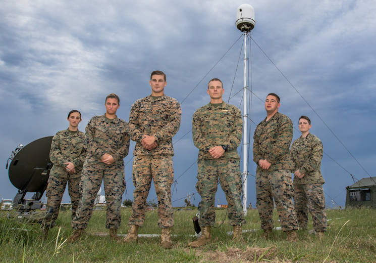 November 17, 2017 - Marines serving with the Marine Air Control Squadron 2 pose in front of their X band radar system in Aguadilla, Puerto Rico. They set up the system in order to bring radar services back to the island following Hurricane Maria. The hurricane destroyed all National Weather Service weather radar systems in Puerto Rico, and may take up to six months to repair. In the interim, the MACS 2 Marines will continue to fill the data gap with their two radar sites. From left to right are: Sgt. Hillary Hanner, Cpl. Jamie Maynard, Sgt. Robert Ratcliff, Chief Warrant Officer Adam Harmon, Pfc. Jacob Reilly, Staff Sgt. Rachael Parkison (U.S. Army photo by Staff Sgt. Evan Lane)