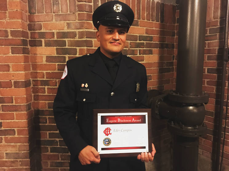 February 15, 2017 - Candidate Firefighter and Emergency Medical Technician Eder Campos, Marine veteran, graduated from the Fire Academy at the Aon Grand Ballroom on the Navy Pier in Chicago, Illinois. Campos was awarded the Eugene Blackmon award recognizing outstanding leadership. (U.S. Marine Corps photo by Cpl. Jennifer Webster)