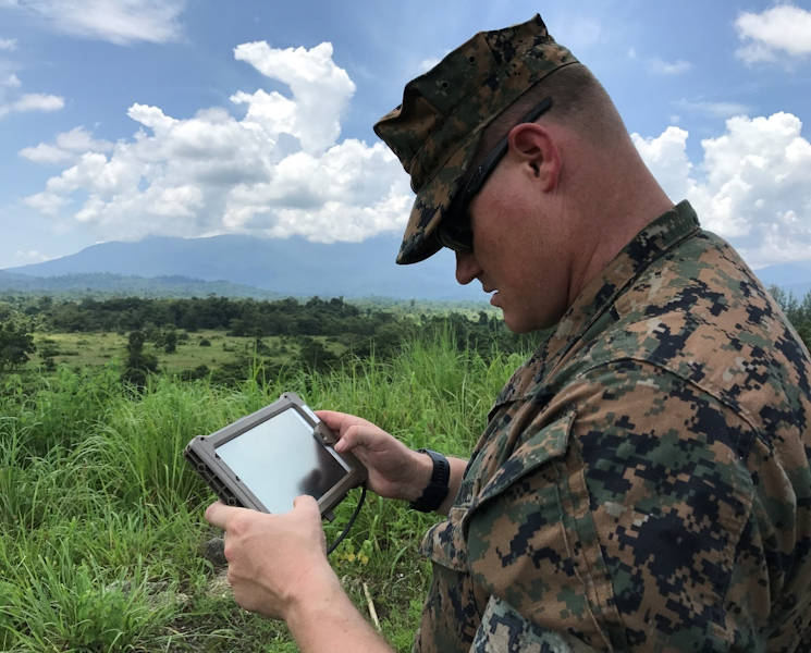August 10, 2017 - Marine Corps Chief Warrant Officer 2 Jeff Wright uses the Office of Naval Research TechSolutions-sponsored KILSWITCH Surface Danger Zone tool to plan live-fire training for next year's Cobra Gold military exercise at Ban Chan Khrem Royal Thai Naval Base in Thailand. (U.S. Navy photo by Moraima Johnston, Office of Naval Research)