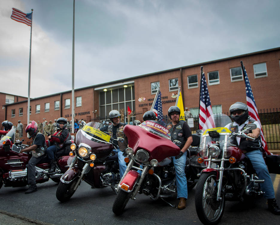 February 12, 2017 - The Patriot Guard Riders of Georgia wait outside the 335th Signal Command (Theater) headquarters to escort Detachment 6 to the airport after a deployment ceremony in East Point, GA. (U.S. Army Reserve photo by Staff Sgt. Ken Scar)