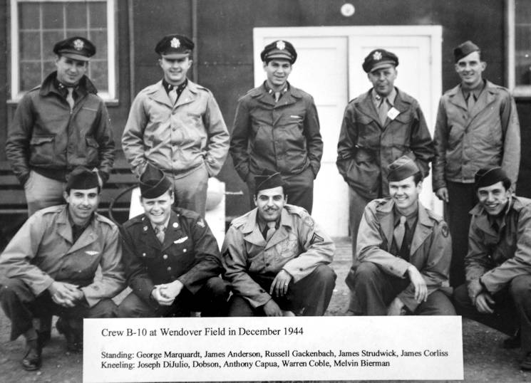 Russell Gackenbach, back center, was the navigator aboard the B-29 Superfortress, Necessary Evil, and is the last surviving member of the three crews that flew the atomic bomb mission over Hiroshima, Japan on August 6, 1945. He is pictured with the Necessary Evil crew during training at Wendover Field, Utah in December 1944. (Photo courtesy of Russell Gackenbach)