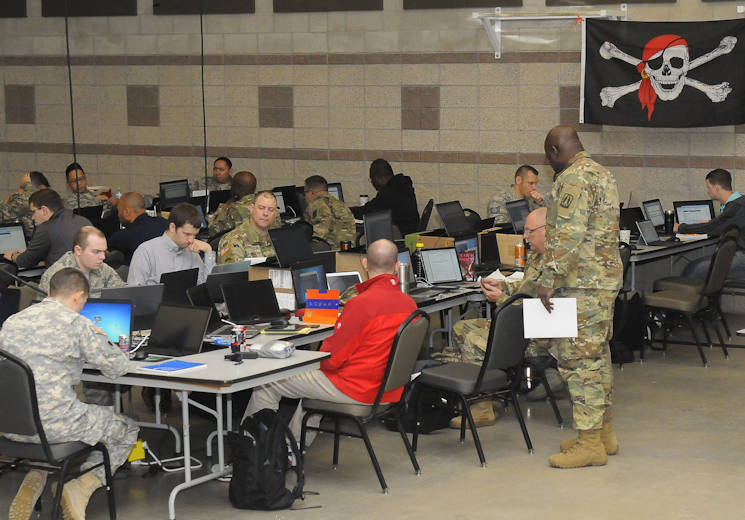 "April 26, 2017 - Members of the Army National Guard, Air National Guard and Army Reserve, and civilians working in information technology prepare to engage as opposition force, or ""red cell"" in Cyber Shield 17 at Camp Williams, Utah. Cyber Shield 17 is a National Guard exercise designed to assess soldiers, airmen, and civilian personnel on-response plans to cyber incidents that is taking place April 24 to May 5, 2017 at Camp Williams, Utah. (U.S. Army National Guard photo by Sgt. Michael Giles)"