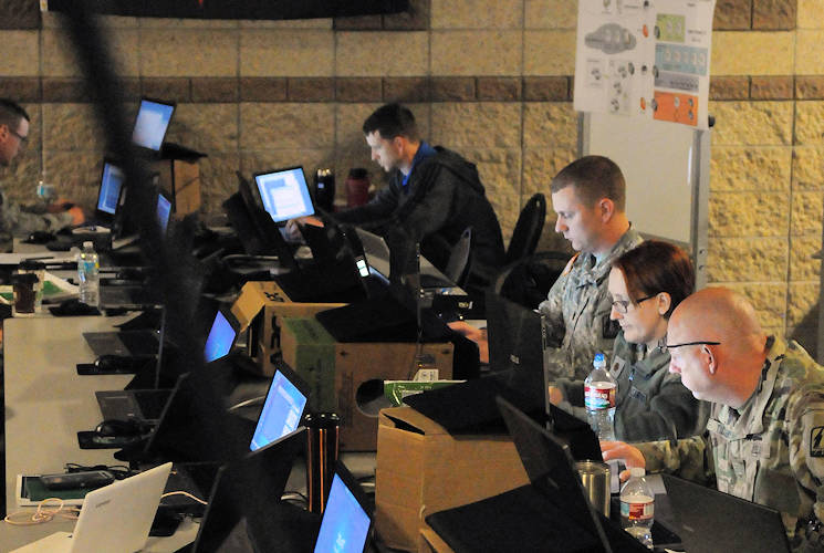 "April 26, 2017 - Army National Guard, Air National Guard and Army Reserve service members and civilian information technology experts prepare to engage as the opposing force, or ""Red Cell"" for exercise Cyber Shield 17 at Camp Williams, Utah. Cyber Shield 17 is a National Guard exercise designed to assess participants' ability to respond to cyber incidents. (U.S. Army photo by Sgt. Michael Giles)"