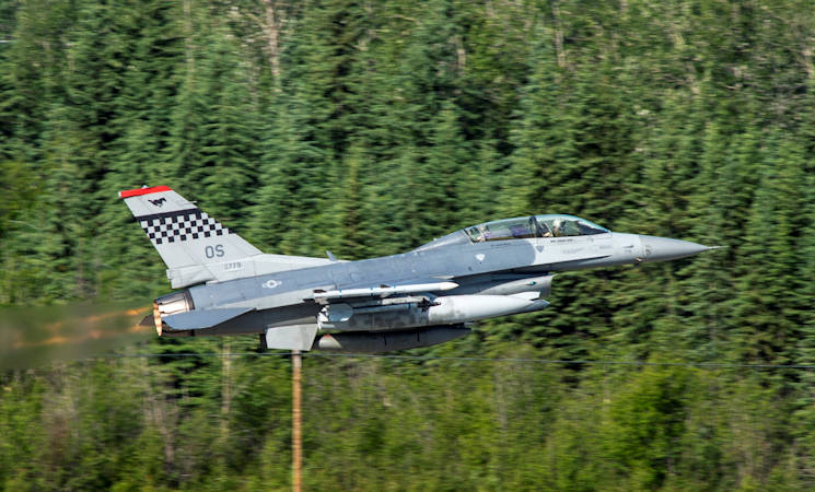 June 19, 2017 - U.S. Air Force F-16 fighting falcon assigned to the 36th Fighter Squadron takes off during RED FLAG-Alaska 17-2 at Eielson Air Force Base, Alaska. RED FLAG-Alaska provides an optimal training environment in the Indo-Asia Pacific Region and focuses on improving ground, space, and cyberspace combat readiness and interoperability for U.S. and international forces. (US Air Force photo by Airman 1st Class Sean Carnes)