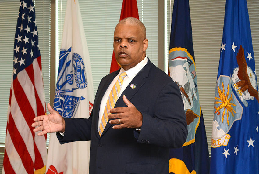Retired Navy Rear Adm. Sinclair Harris speaks to Defense Logistics Agency Energy team members about leadership and success during a mentoring session at the McNamara Headquarters Complex at Fort Belvoir, Virginia, September 19, 2017. (Defense Logistics Agency photo by Tanekwa Bournes)