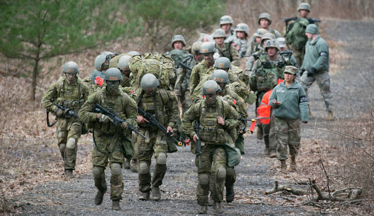 April 8, 2017 - Australian Defense Force Academy cadets navigate the course during the 2017 Sandhurst Military Skills Competition at West Point, NY. During Sandhurst, 62 teams representing 12 international military academies, four U.S. service academies and eight ROTC programs competed in 11 events throughout a 23-mile course. (U.S. Army photo by Staff Sgt. Vito T. Bryant)