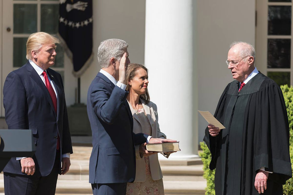 April 10, 2017 - With President Donald Trump looking on, Anthony M. Kennedy, Associate Justice of the Supreme Court of the United States, swears-in Judge Neil M. Gorsuch to be the Supreme Court's 113th Justice in the Rose Garden of the White House in Washington, D.C. Justice Gorsuch's wife, Louise, held a family Bible. (Official White House Photo by Shealah Craighead)