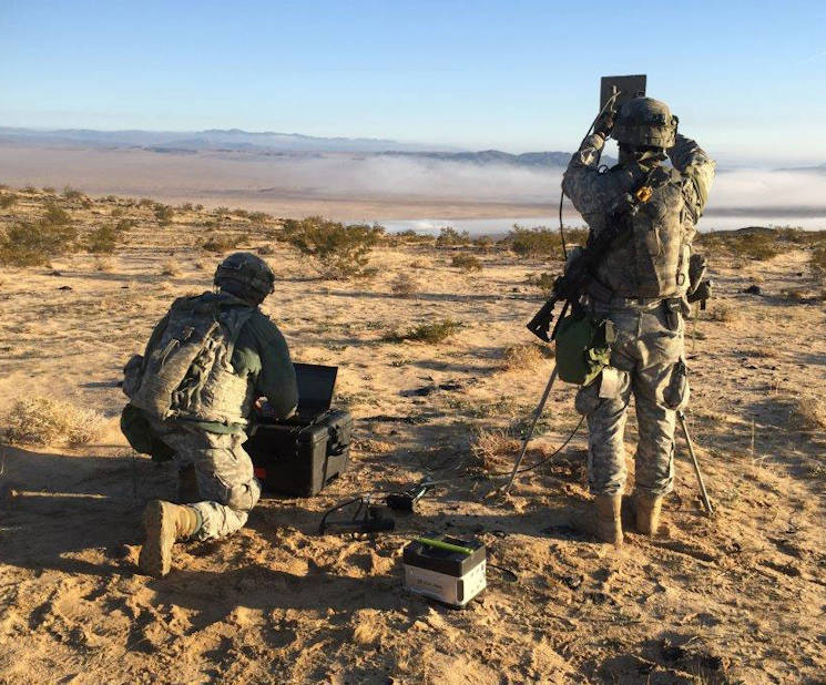 January 24, 2017 - Soldiers with the 780th Military Intelligence Brigade conduct cyberspace operations during a training rotation for the 2nd Stryker Brigade Combat Team, 2nd Infantry Division, at the National Training Center at Fort Irwin, California. The Fort Meade, Maryland based 780th was one of several cyber organizations that took part in the rotation as part of an pilot program to designed to help the Army develop how it will build and employ cyber in its tactical formations. (U.S. Army courtesy photo)