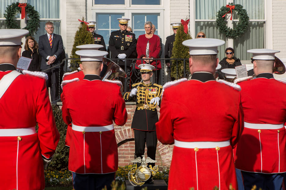 January 1, 2017 - U.S. Marine Corps Lt. Col. Jason K. Fettig, center, director of the U.S. Marine Band, conducts the 2017 Surprise Serenade for Commandant of the Marine Corps Gen. Robert B. Nelle and his family in Washington, D.C. The Surprise Serenade is a tradition that dates back to the mid-1800's in which the U.S. Marine Band performs music for the Commandant of the Marine Corps at his home on New Years Day. (Image created by USA Patriotism! from U.S. Marine Corps photo by Cpl. Samantha K. Braun)