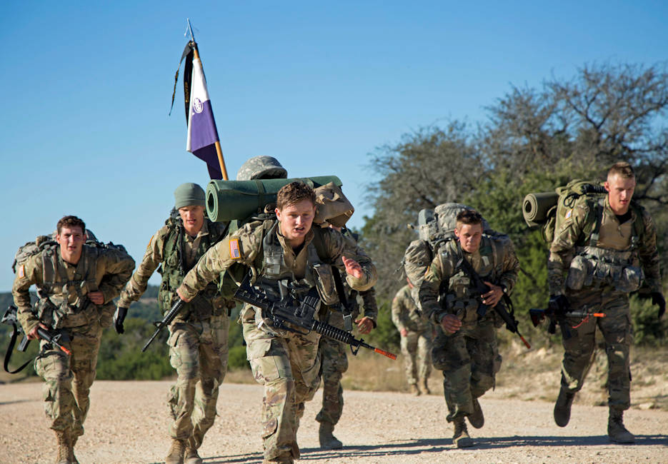 October 29, 2017 - Tarleton State University ROTC cadets cross the finish line during the 10-mile ruck march event at the end of the U.S Army ROTC Ranger Challenge competition held at Fort Hood, Texas. Thirteen teams of nine ROTC cadets, including two Tarleton State teams, competed in the weekend-long competition. (U.S. Army photo by Capt. Grace Geiger)