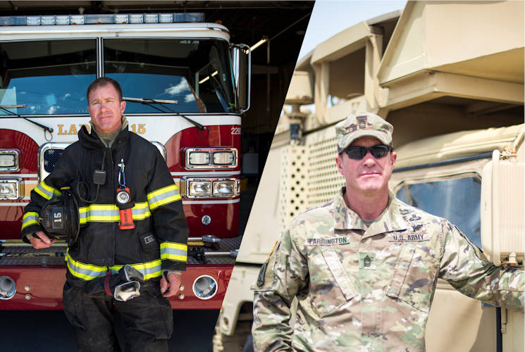 June 28, 2017 - Tom Farrington is a 19 year veteran of the Indianapolis Fire Department (left) and a 29 year veteran of the Indiana Army National Guard (right). Indiana National Guard photos and combined image by U.S. Army Staff Sgt. Jeremiah Runser