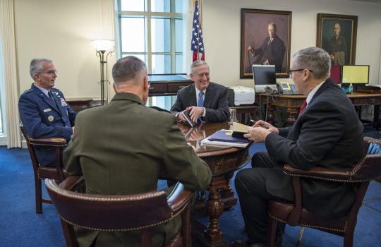 "New Defense Secretary Jim Mattis hosts his first ""Top 4"" roundtable after arriving at the Pentagon in Washington, D.C. Also in attendance were Deputy Secretary of Defense Bob Work; U.S. Marine Corps Gen. Joseph Dunford, Chairman of the Joint Chiefs of Staff; and U.S. Air Force Gen. Paul Selva, Vice CJCS. (DOD photo by Air Force Tech. Sgt. Brigitte N. Brantley)"