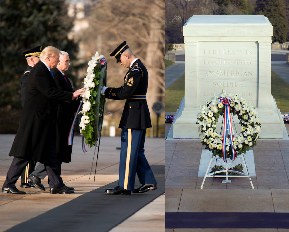 January 19, 2017 - President-elect Donald J. Trump and Vice President-elect Mike Pence place a wreath at the Tomb of the Unknown Soldier at Arlington National Cemetery in Arlington, Va. Trump will be sworn-in as the 45th president of the United States during the Inauguration Ceremony on January 20, 2017 in Washington, D.C. (Image created by USA Patriotism! from U.S. Army photos by Rachel Larue, Arlington National Cemetery)