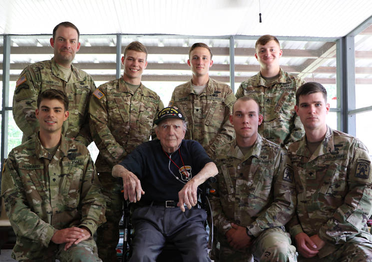 "May 9, 2017 - Soldiers from the 1st Battalion, 509th Parachute Infantry Regiment (Airborne) proudly with Joseph ""Jack"" C. Rogillio (98), a World War II combat veteran with the 506th Parachute Infantry Regiment (Airborne), near Fort Polk, LA. (U.S. Army photo by Maj. Chad Ashe)"